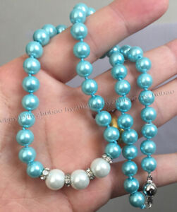 "8-10mm Round White Blue Akoya Shell Pearl Gems Beads Pendant Necklace 18"" AAA"