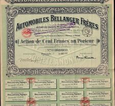 AUTOMOBILES BELLANGER FRERES NEUILLY FRANCE 1919  merged by Peugeot / PSA