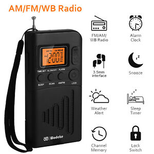 Portable Radio Receiver Mini Battery Powered LCD Digital AM/FM Clock Loudspeaker