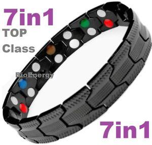 TITANIUM Magnetic Energy Armband Power Bracelet Health Bio 7in1 Bio Black 25556