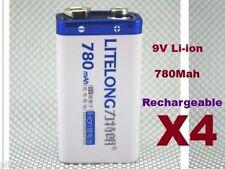 4 Batterie 9V Li-ion 780Mah Rechargeable Accu Battery Pile Accus Lithium ion PP3