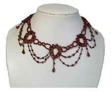 Brown Beaded Choker Necklace Vintage Tattoo Fashion Dress Gift Jewellery Women