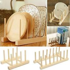 Bamboo Plate Rack Pot Lid Holder Cabinet Stand Storage Wood Dish Kitchen