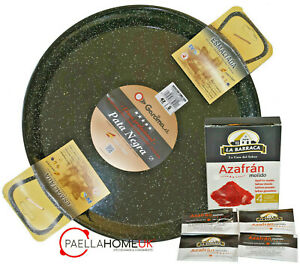 Induction & Vitro PATA NEGRA PAN 30cm Enamelled Steel Paella Pan + SAFFRON GIFT