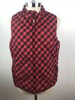 Jones New York Puffer Vest Red Black Reversible Plaid Puffy Coat Jacket XL