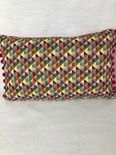 "Vibrant 20"" X 12"" 'Little Holland' Cushion Cover With Pom Poms"
