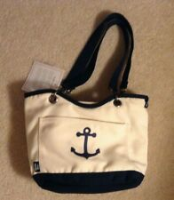 New Thirty One Natural & Navy w/ Anchor Canvas Crew Mini Thermal New with tags