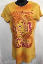 Ed Hardy women's Short sleeve  T Shirt Yellow California Hollywood NWT Size M