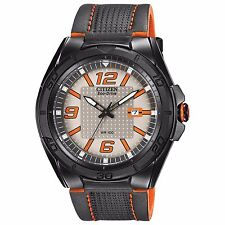 Citizen Eco-Drive Men's AW1385-03H BRT Orange Accents Black Leather Strap Watch