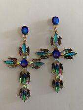 """MULTI-COLOR Zircon 3"""" Drop/DANGLE Earrings Gemstone-E8877"""