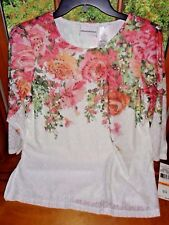 "Alfred Dunner""Botanical Gardens"" ivory/pink floral knit top...Sz.S..NWT."