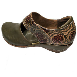 L'Artiste Olive Green Leather Mary Jane Shoes Gloss Pansy Sz 37 39 41