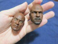 """1/6 Scale ACI TOYS Black Man Head Sculpt Set of 2 For 12"""" Action Figure"""