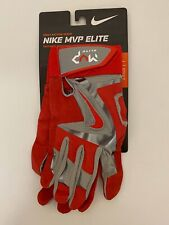 Nike MVP Elite Baseball Batting Gloves Red Grey Silver Adult Sz Large NEW!!!