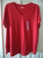 Must Have Basic! Old Navy Red Slight Slub V-Neck T-shirt Knit Top 3X 26 28 30 4X