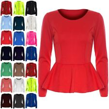 Womens Ladies Plain Long Sleeve Flared Stretchy Peplum Frill Mini Dress Top Plus Size UK 20 Zip up Apple Green - Office Work Formal