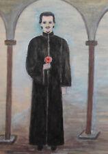 Vintage watercolor drawing priest portrait signed