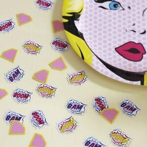 CONFETTI POP ART Pink Superhero Girls Birthday Party Kids Sprinkles Decoration