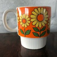 Vintage 1960s / 1970s Yellow Daisy on Orange background Stackable Mug - Japan