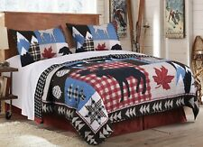 3pc MOUNTAIN TRAIL Queen Quilt Set Lodge Cabin Moose Bear Patchwork Snow Maple