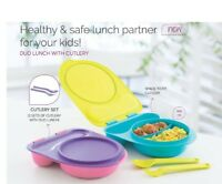 Tupperware Duo Kids Lunch Box with Cutlery Set Spon & Fork 2 X 400 ml