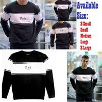 ✅ Mens PRE LONDON Sweatshirt Jumper ✅ Black White Panelled Top XS S M L XL NEW✅