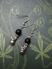 Cauldron & Real Jet Earrings - Pagan - Witchcraft - Wicca - Sterling silver