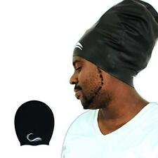 Long Hair Dreadlock Swim Cap – Silicone Swimming L Cap - Waterproof Black Large