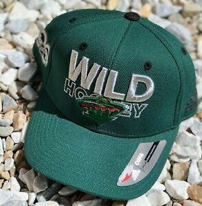 NHL Minnesota Wild Adidas 100 Year Flex Brim Snapback Hat Cap Green