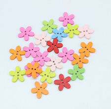 200PC Wood Buttons Sewing Scrapbooking Flowers Shaped 2 Holes Mixed 15*15mm T305