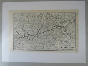 Original Vintage Map of the Wabash Railroad and Connections from 1904