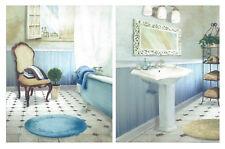 SET 2 Unidades Cuadro decorativo tonos azules baño  25x19 cm