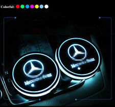 For Mercedes-Benz 2x LED Car Cup Holder Pad Mat Auto Atmosphere Light Colorful