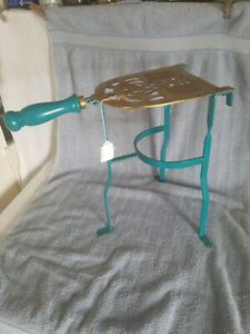 """Vintage Brass & Iron Hearth Fireplace Iron Trivet Stand;Wood Handle 13.75"""" Tall"""