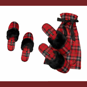 NWT Victoria Secret's Signature Red Plaid Satin Slipper W/ Bag [ Small 5-6 ] #JR