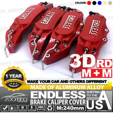 Metal 3D ENDLESS Universal Style Brake Caliper Cover front rear 4x 240mm Red LW1