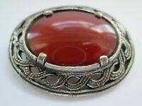 Vintage  Miracle Scottish Celtic Carnelian Glass Silver Tone Brooch Kilt Pin