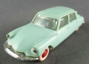 Norev Micro Miniature N°2 Ho 1/86 Citroën Ds 19 Bleu Clair Roues Rouge Lestée
