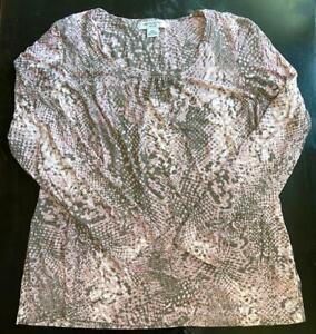 Liz Claiborne Petite Womens PXL Long Sleeve Scoopneck Pink Lav Grey Snakeskin