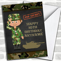 Green Boy Camo Army Children's Birthday Personalized Greetings Card