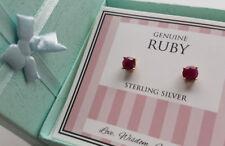 Genuine Ruby 18k Gold 925 Sterling Silver Stud Earring 6mm