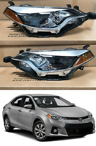 Headlight Headlamp Assembly Replacement Pair LH RH 2014 2015 2016 Toyota Corolla