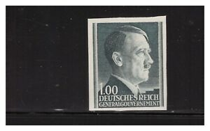 GERMAN OCCUPATION OF POLAND N94 1943 1Z HITLER HEAD IMPERF SC. VERY RARE MNH PG4