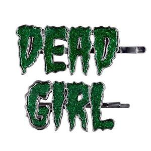 Kreepsville 666 Dead Girl Text Sparkle Green Gothic Punk Hair Slides Clips HSTDG