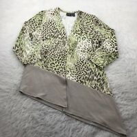 CHICO'S Travelers Size 0(Small) Green Brown Slinky Asymmetrical Cardigan Sweater