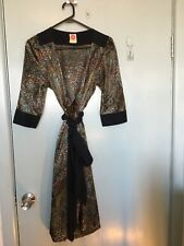 Leona Edmiston Leona wrap around dress in black gold and other colours in size 2