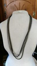 """Choice Vintage Necklace 34"""" long mixed metal ball beads copper brass 80's MOD"""