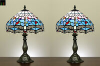 Pair of 2 JT Tiffany Blue Dragonfly Stained Glass Table Lamp Bedside Side
