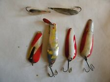 Nice Group of 6 Fishing Spoons Silver Minnow Marathon Daredevle Professor #1