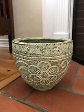 Thai Green Ceramic Plant Holder Flower Pot Handcrafted Handmade in Thailand